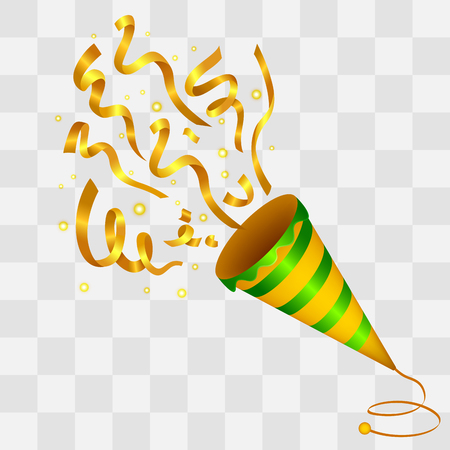 carnival party: Exploding Golden Confetti Popper on transparency background