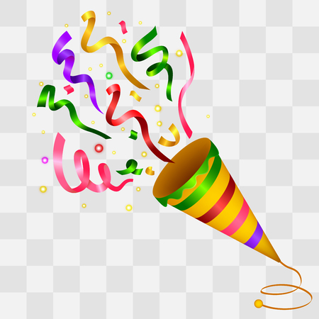 Exploding Colorful Confetti Popper on transparency background Illustration