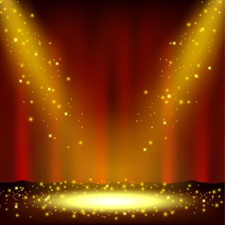 red theater curtain: Spotlight shining with sprinkles falling