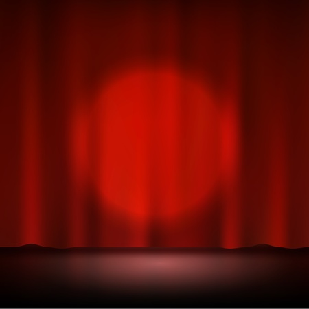 red theater curtain: Spotlight on stage red curtain
