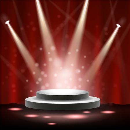 spotlight white background: Spotlight shining on stage