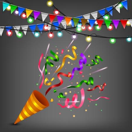 Exploderende Kleurrijke confetti popper verjaardagsfeestje