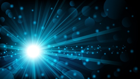 ray of light: Blue shine with lens flare background