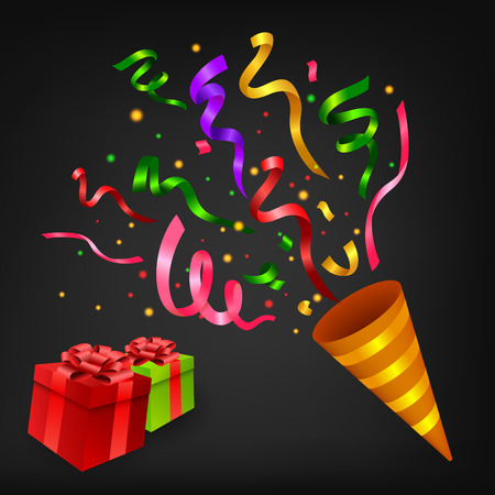 popper: Exploding Colorful confetti popper with gift box birthday party Illustration
