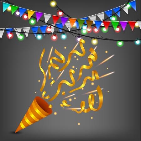 Exploding confetti popper birthday party, Gold Edition