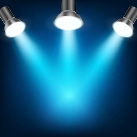 night club interior: Blue spotlights in dark background