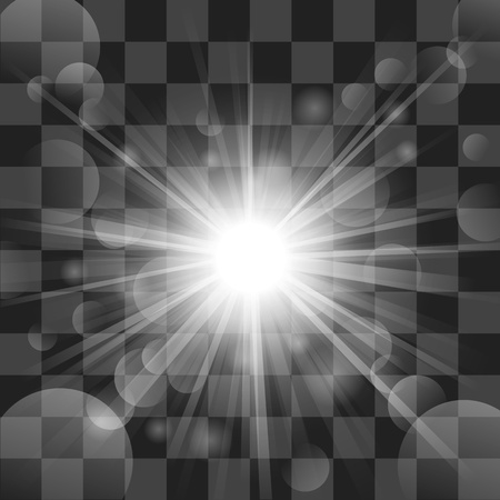 White shine with lens flare on transparency background