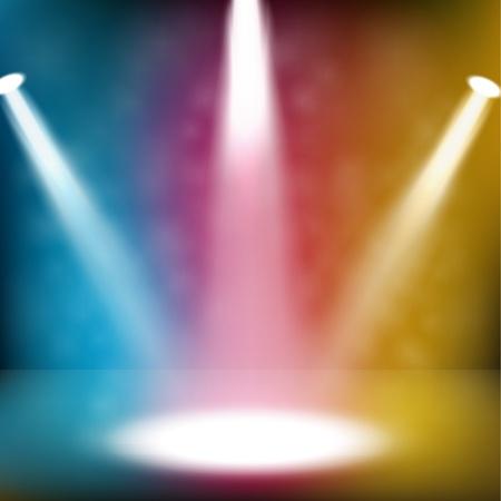 White Spotlight shining on colorful background Illustration