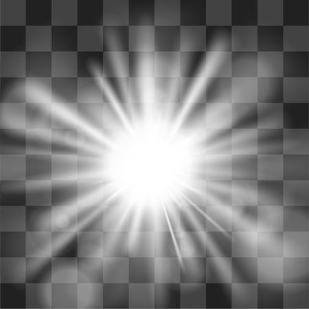 De zon barstte op transparantie achtergrond Stock Illustratie