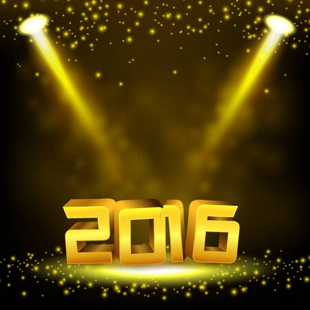 rewarding: 2016 Gold text illuminated gold spotlight with sprinkles and fog Illustration