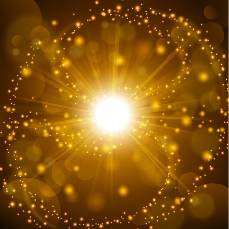 Golden shine with lens flare background