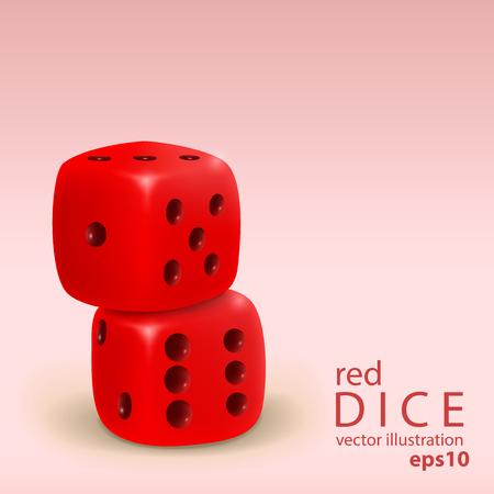 incarnadine: Realistic two gold dice stacked isolated on incarnadine background Illustration