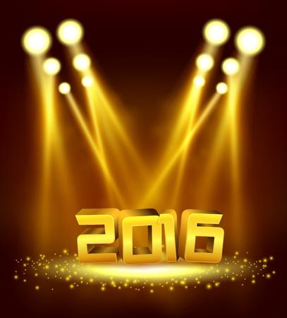 illuminated: 2016 Gold text illuminated gold spotlight with sprinkles