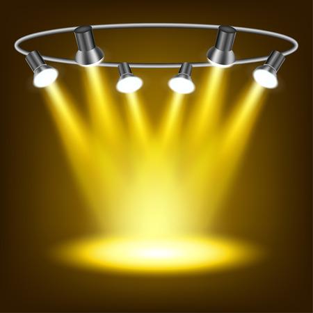 night club interior: Gold spotlights in dark background