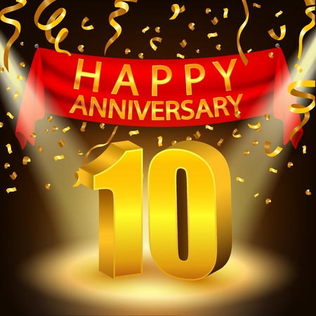 10th: Happy 10th Anniversary celebration with golden confetti and spotlight Illustration