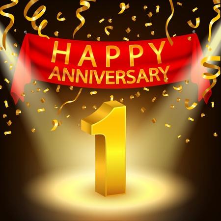 1. Happy celebrazione anniversario con coriandoli d'oro e riflettori