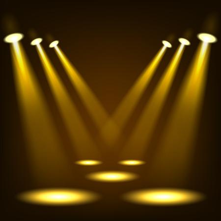 Gold spotlights shining in dark place background Vektorové ilustrace