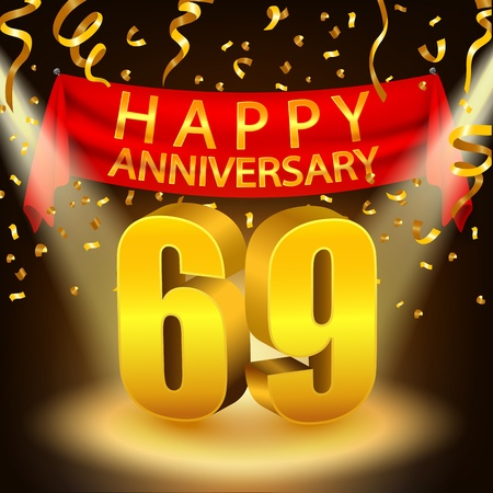 ninth birthday: Happy 69th Anniversary celebration with golden confetti and spotlight Illustration