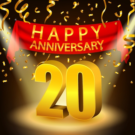 Happy 20th Anniversary celebration with golden confetti and spotlight Stock Vector - 50769524