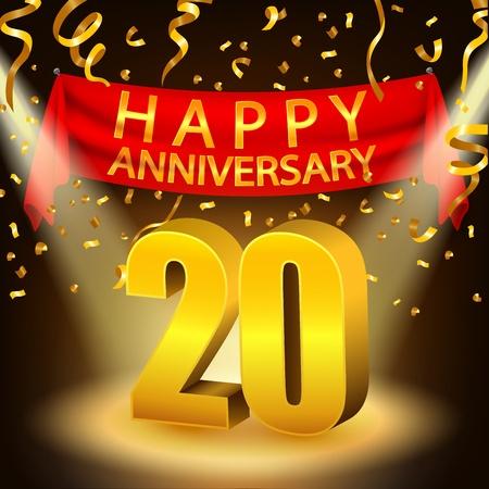 20th: Happy 20th Anniversary celebration with golden confetti and spotlight