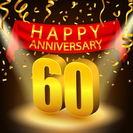 sixtieth: Happy 60th Anniversary celebration with golden confetti and spotlight