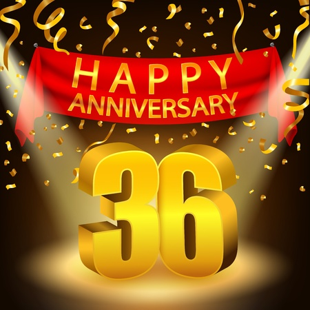 number 36: Happy 36th Anniversary celebration with golden confetti and spotlightj