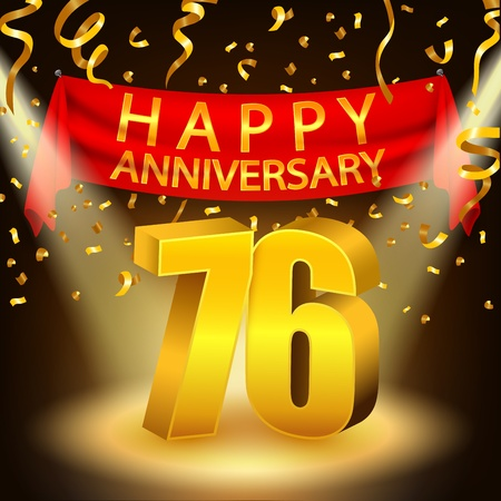 sixth birthday: Happy 76th Anniversary celebration with golden confetti and spotlight