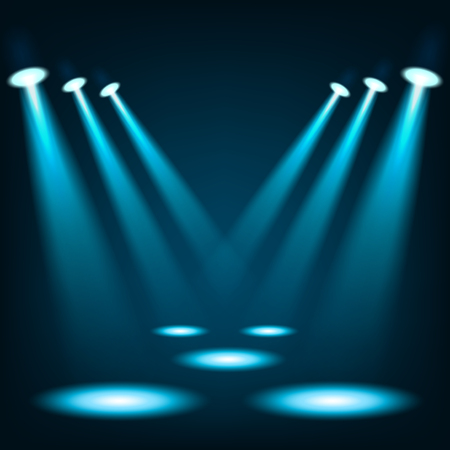 live music: Blue spotlights shining in dark place background