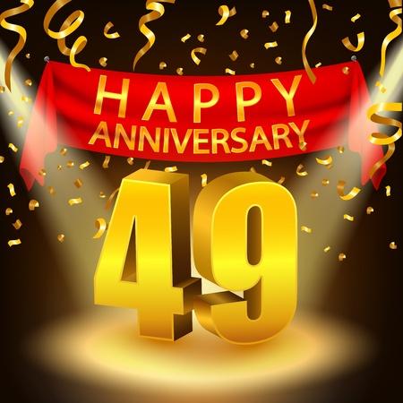 Bonne fête anniversaire 49e avec des confettis dorés et projecteurs