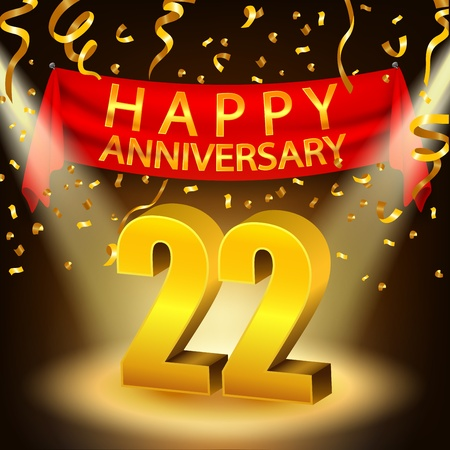 Happy 22nd Anniversary celebration with golden confetti and spotlight Ilustrace