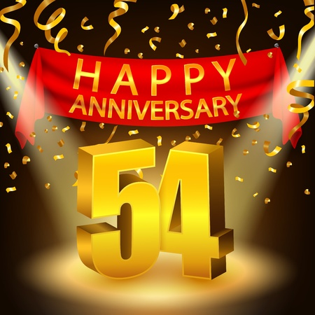 50 54 years: Happy 54th Anniversary celebration with golden confetti and spotlight Illustration