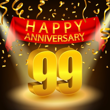 99: Happy 99th Anniversary celebration with golden confetti and spotlight Illustration
