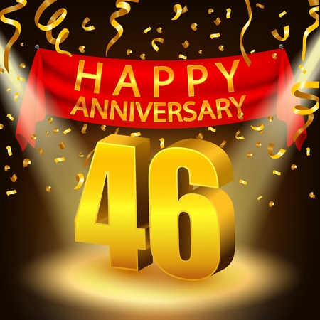 sixth birthday: Happy 46th Anniversary celebration with golden confetti and spotlight