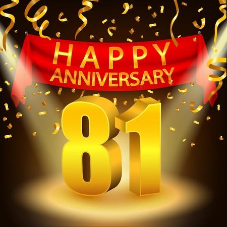 81: Happy 81st Anniversary celebration with golden confetti and spotlight Illustration