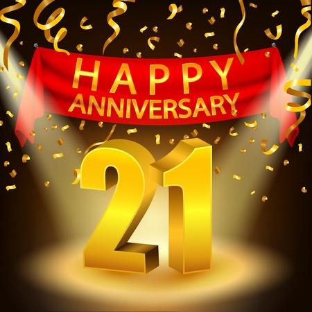 Bonne fête anniversaire 21 avec des confettis dorés et projecteurs Vecteurs