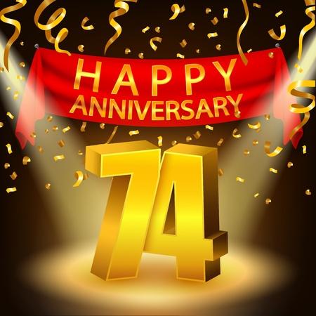 seventy: Happy 74th Anniversary celebration with golden confetti and spotlight