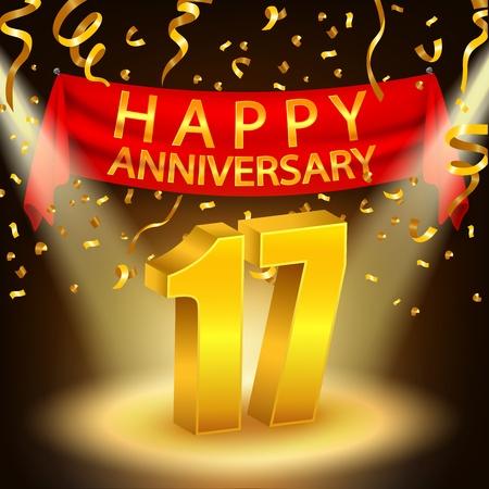 17th: Happy 17th Anniversary celebration with golden confetti and spotlight