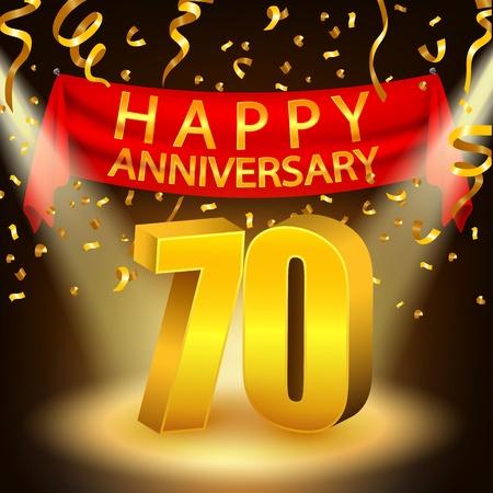 seventieth: Happy 70th Anniversary celebration with golden confetti and spotlight