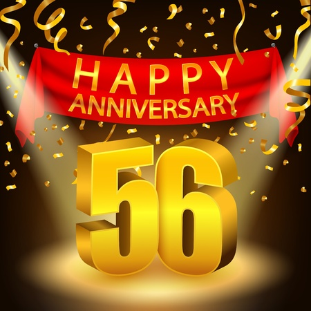 sixth birthday: Happy 56th Anniversary celebration with golden confetti and spotlight