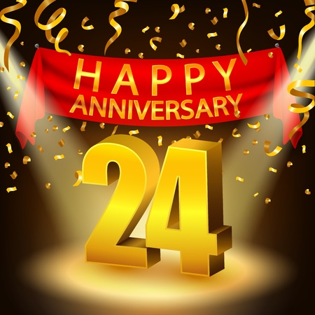 Happy 24th Anniversary celebration with golden confetti and spotlight Ilustrace