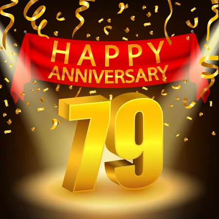 ninth birthday: Happy 79th Anniversary celebration with golden confetti and spotlight