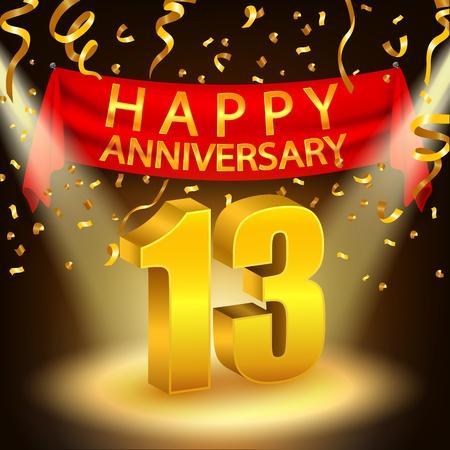 Gelukkige 13de verjaardag vieren met gouden confetti en schijnwerper Stock Illustratie