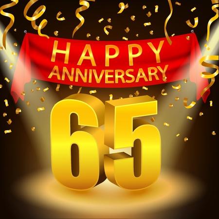 65th: Happy 65th Anniversary celebration with golden confetti and spotlight