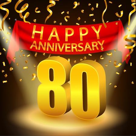 80th: Happy 80th Anniversary celebration with golden confetti and spotlight