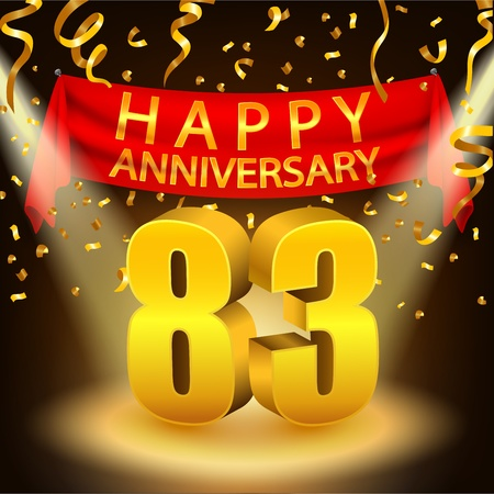 83rd: Happy 83rd Anniversary celebration with golden confetti and spotlight