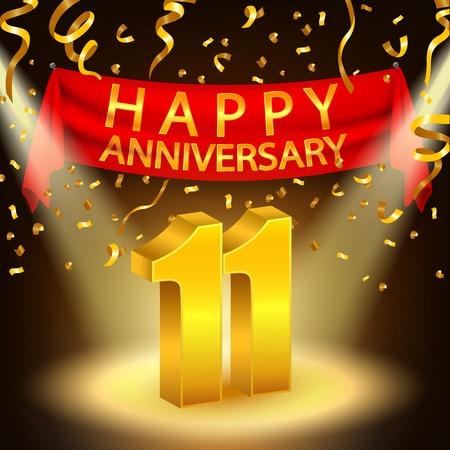 11th: Happy 11th Anniversary celebration with golden confetti and spotlight