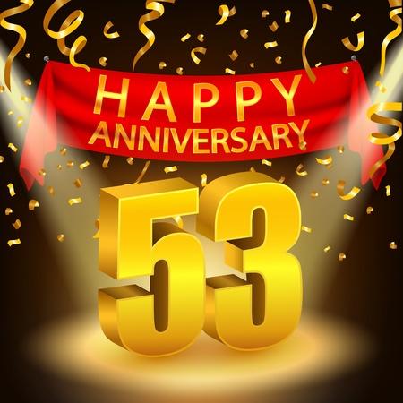 Happy 53rd Anniversary celebration with golden confetti and spotlight