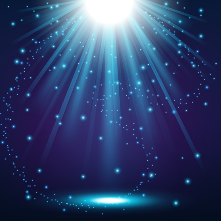 blue stars: Elegant lights shining with flying sparks background Illustration