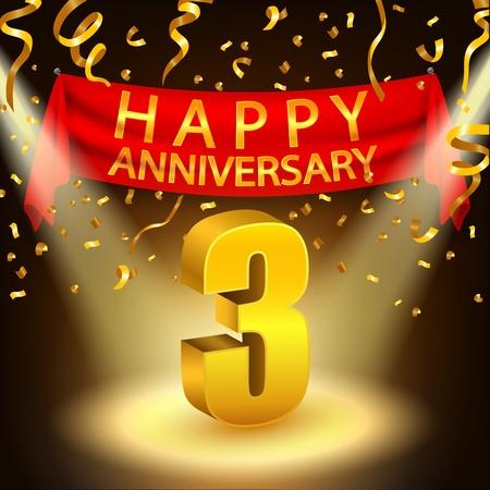 幸福三週年慶祝活動的金色紙屑和聚光燈 向量圖像