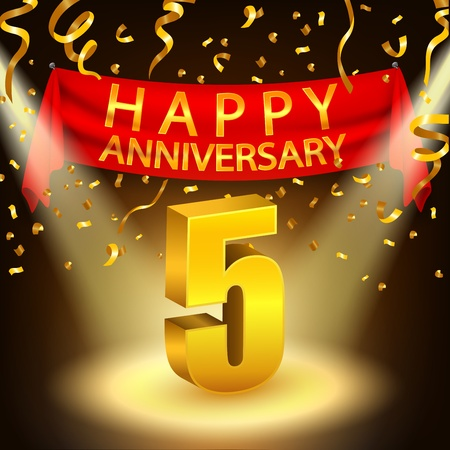 Bonne 5ème célébration d'anniversaire avec des confettis dorés et projecteurs Vecteurs